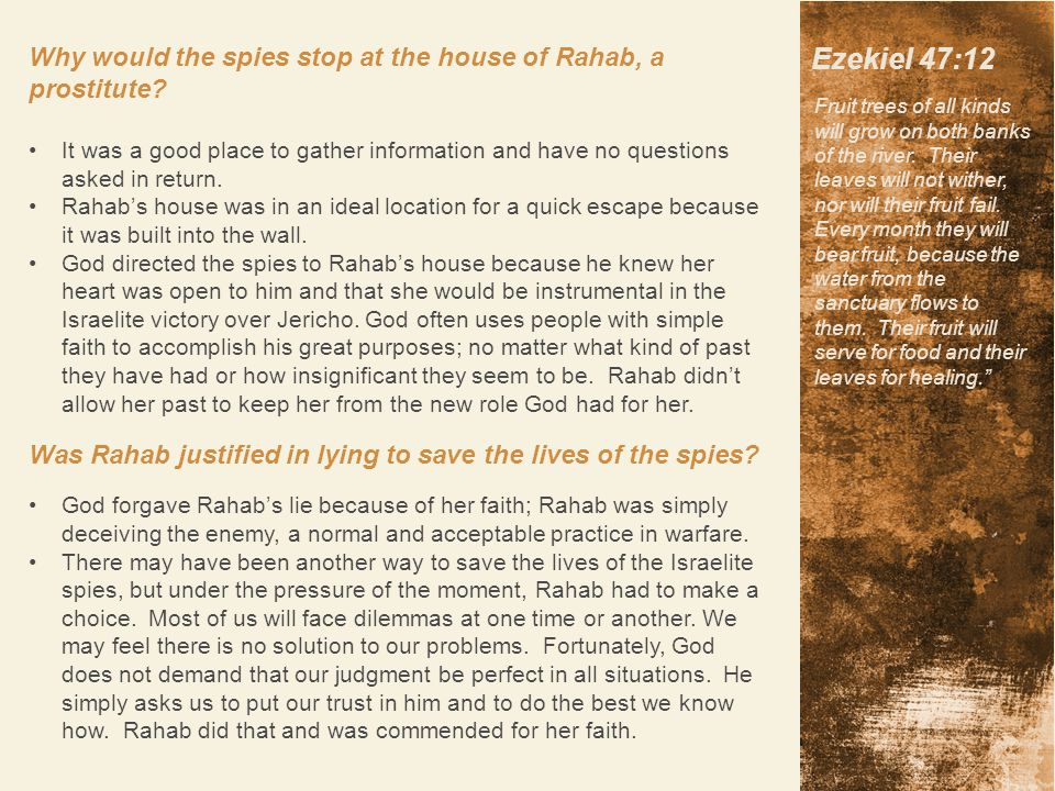 Why would the spies stop at the house of Rahab, a prostitute.