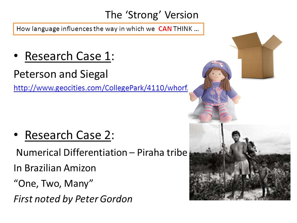 The 'Strong' Version Research Case 1: Peterson and Siegal http://www.geocities.com/CollegePark/4110/whorf.html Research Case 2: Numerical Differentiat