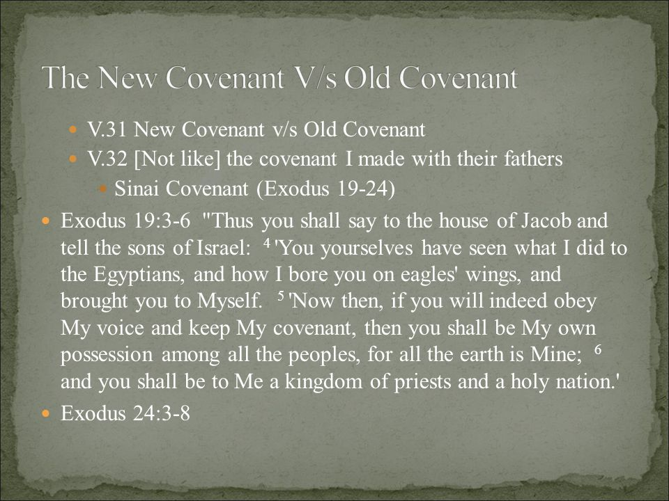 V.3- Moses recounted to the people all the words of the Lord All the words which the Lord has spoken we will do! V.7- he read the book of the covenant in the hearing of the people Book of the covenant Ten Commandments ch.20:1-17 Ordinances chs.21-23 All that the Lord has spoken, we will do, and we will be obedient! Reactive and Ritualistic V/s Received and Relational