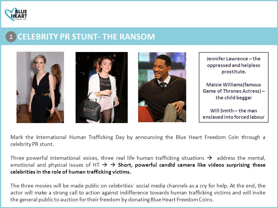 1. CELEBRITY PR STUNT- THE RANSOM 1 Mark the International Human Trafficking Day by announcing the Blue Heart Freedom Coin through a celebrity PR stun
