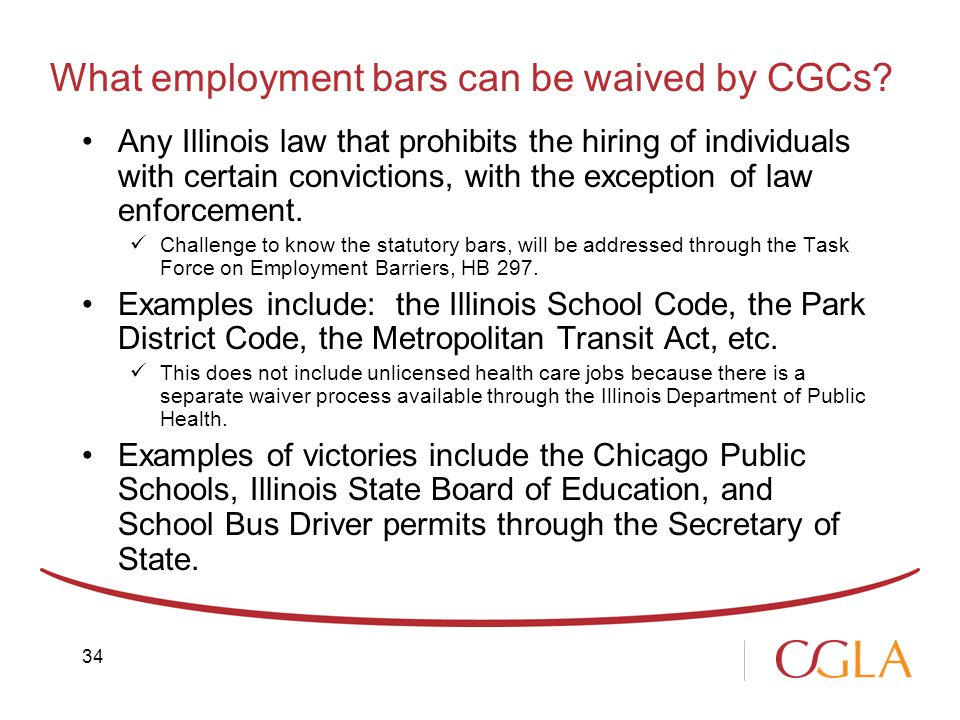What employment bars can be waived by CGCs.