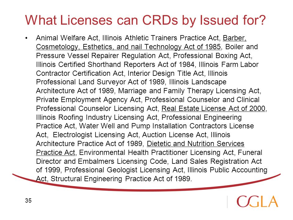 What Licenses can CRDs by Issued for.
