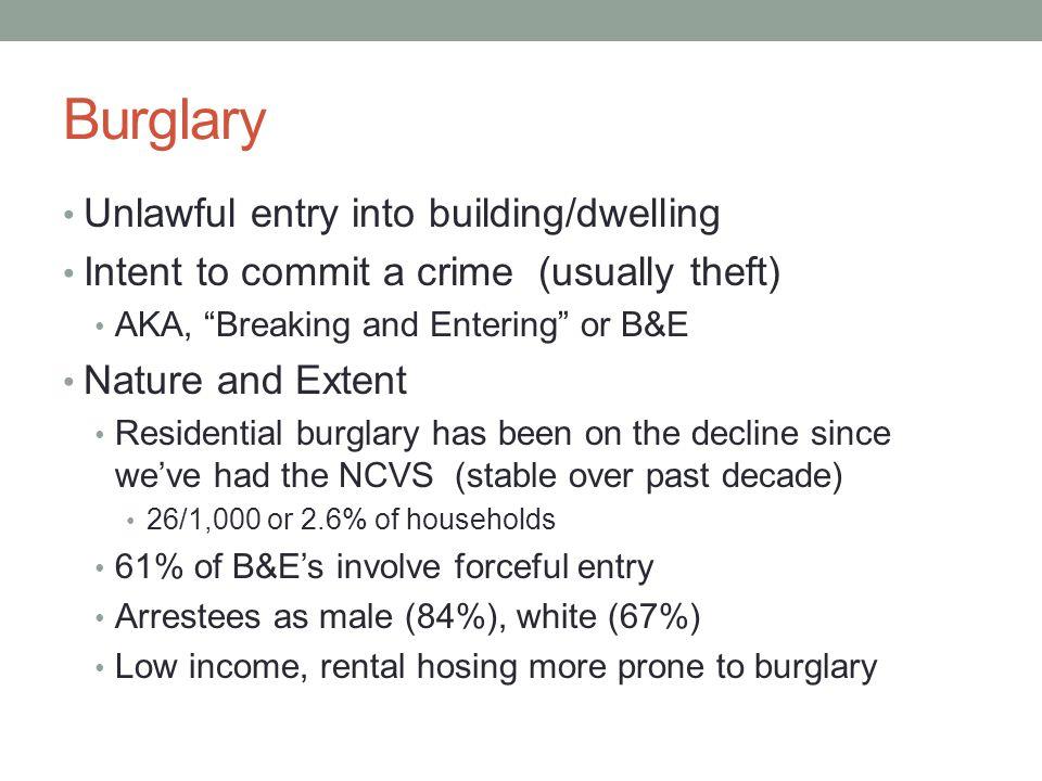 Research on Burglars/Burglary Professional vs.