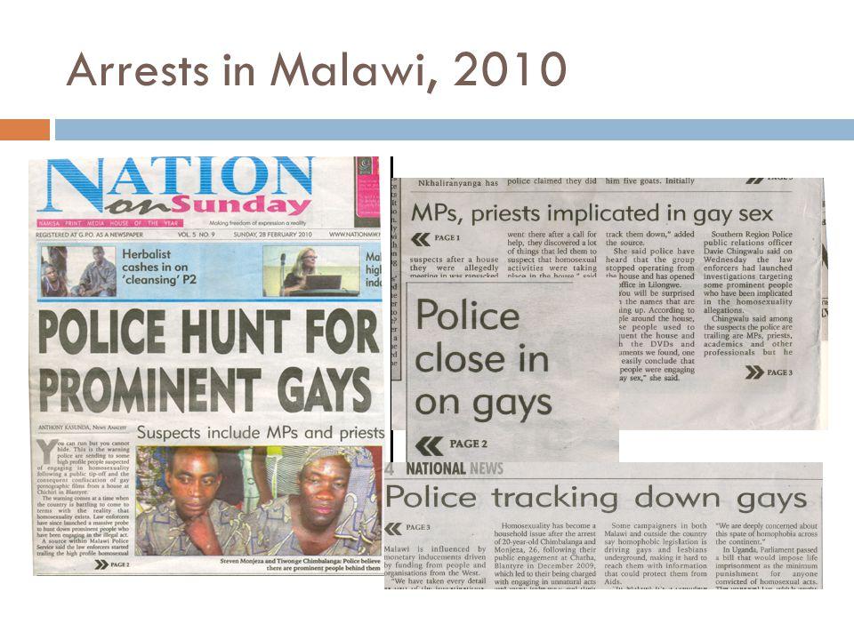 Arrests in Malawi, 2010
