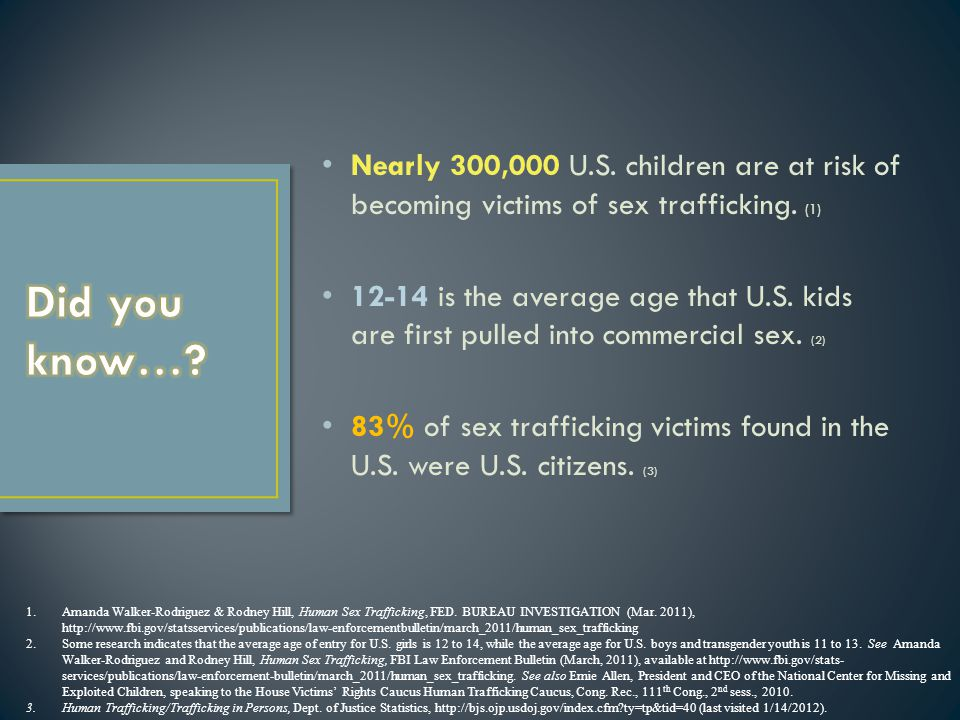 Nearly 300,000 U.S. children are at risk of becoming victims of sex trafficking.