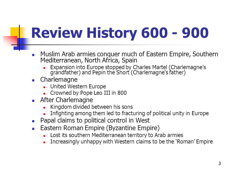 Review History 600 - 900 Muslim Arab armies conquer much of Eastern Empire, Southern Mediterranean, North Africa, Spain Expansion into Europe stopped