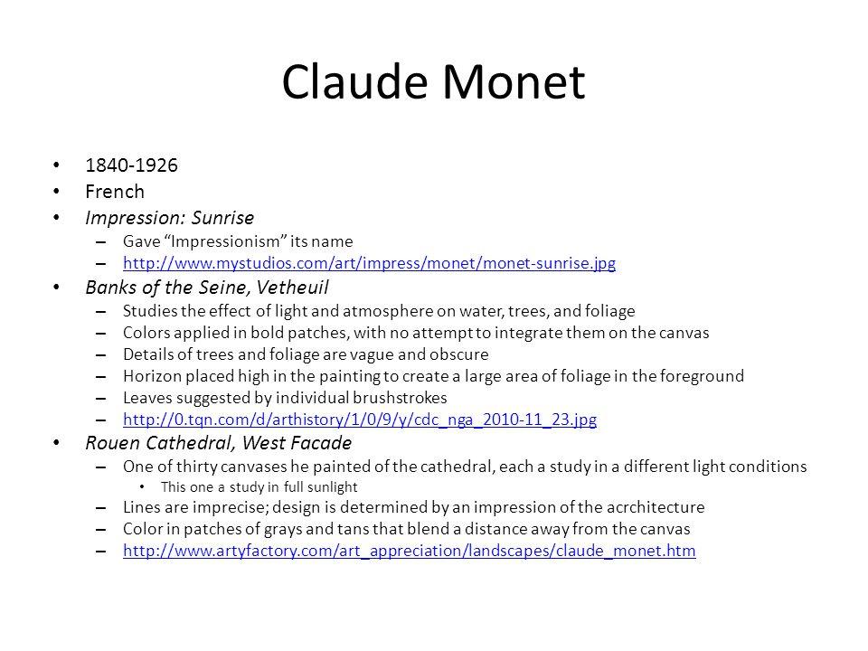 "Claude Monet 1840-1926 French Impression: Sunrise – Gave ""Impressionism"" its name – http://www.mystudios.com/art/impress/monet/monet-sunrise.jpg http:"