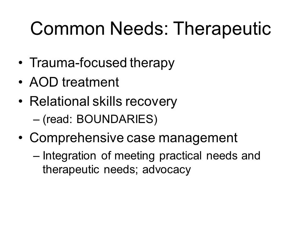Common Needs: Therapeutic Trauma-focused therapy AOD treatment Relational skills recovery –(read: BOUNDARIES) Comprehensive case management –Integration of meeting practical needs and therapeutic needs; advocacy