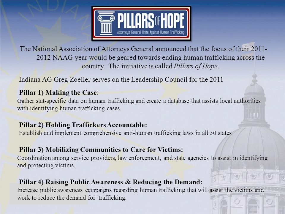 The National Association of Attorneys General announced that the focus of their 2011- 2012 NAAG year would be geared towards ending human trafficking