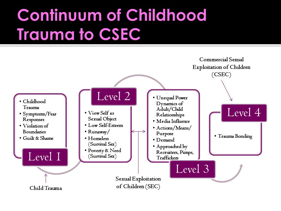 Childhood Trauma Symptoms/Fear Responses Violation of Boundaries Guilt & Shame Level 1 View Self as Sexual Object Low Self-Esteem Runaway/ Homeless (Survival Sex) Poverty & Need (Survival Sex) Level 2 Unequal Power Dynamics of Adult/Child Relationships Media Influence Actions/Means/ Purpose Demand Approached by Recruiters, Pimps, Traffickers Level 3 Trauma Bonding Level 4 Sexual Exploitation of Children (SEC) Child Trauma Commercial Sexual Exploitation of Children (CSEC)
