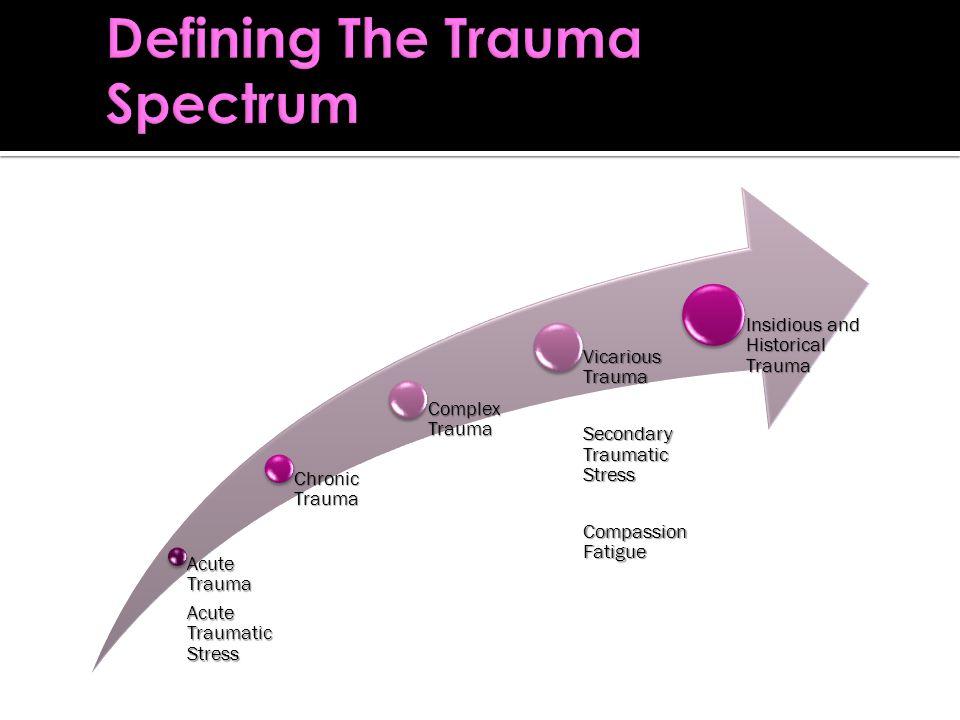 Acute Trauma Acute Traumatic Stress Chronic Trauma Complex Trauma Vicarious Trauma Secondary Traumatic Stress Compassion Fatigue Insidious and Historical Trauma