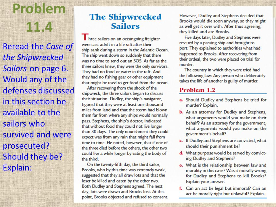 Problem 11.4 Reread the Case of the Shipwrecked Sailors on page 6. Would any of the defenses discussed in this section be available to the sailors who