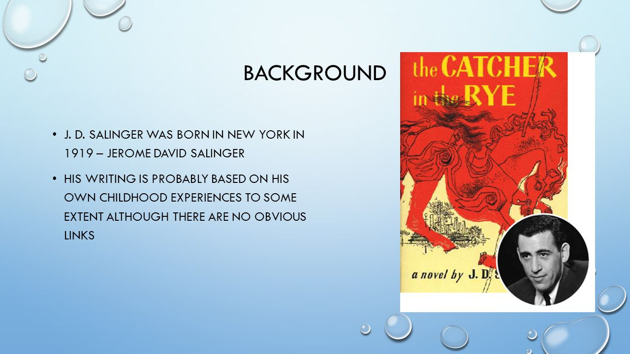 NEW YORK CITY THE CATCHER IN THE RYE IS AN URBAN NOVEL, IT IS SET IN A LARGE CITY WHICH ACTS AS A BACKGROUND TO HOLDEN'S STORY HOLDEN ESCAPES TO THE WORLD OF N.Y.C.