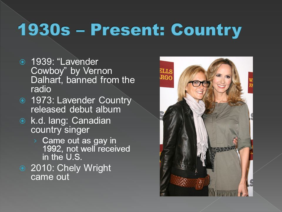 " 1939: ""Lavender Cowboy"" by Vernon Dalhart, banned from the radio  1973: Lavender Country released debut album  k.d. lang: Canadian country singer"