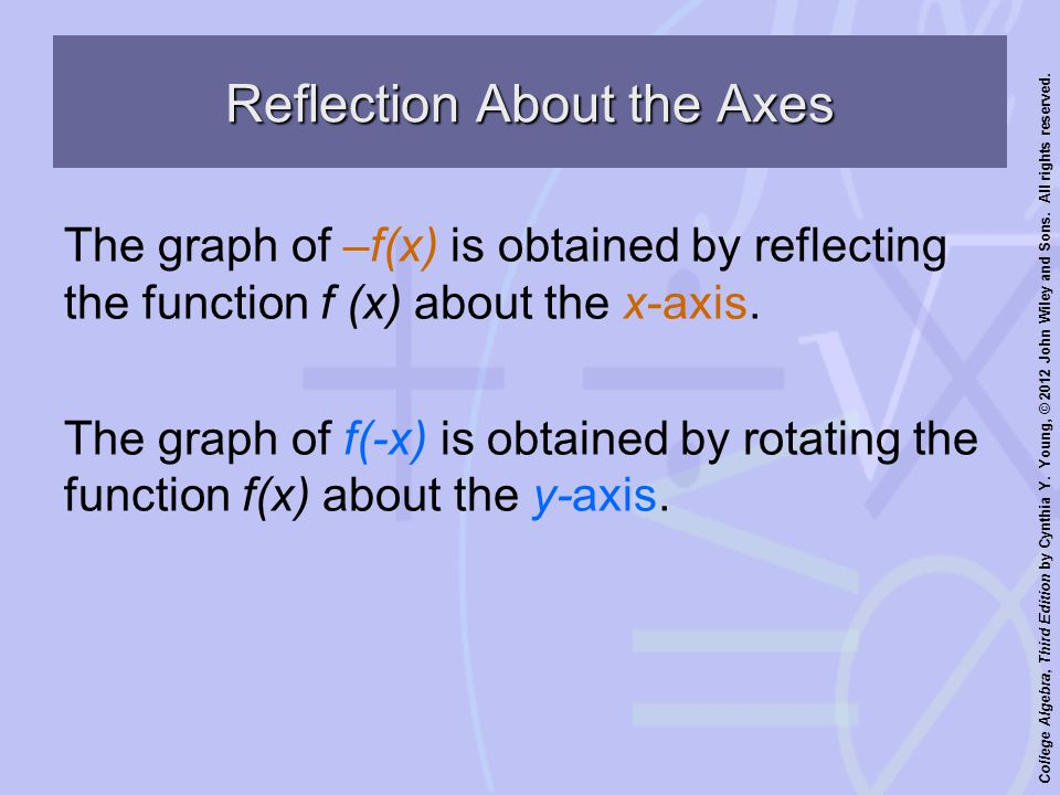 College Algebra, Third Edition by Cynthia Y. Young, © 2012 John Wiley and Sons. All rights reserved. Reflection About the Axes The graph of –f(x) is o