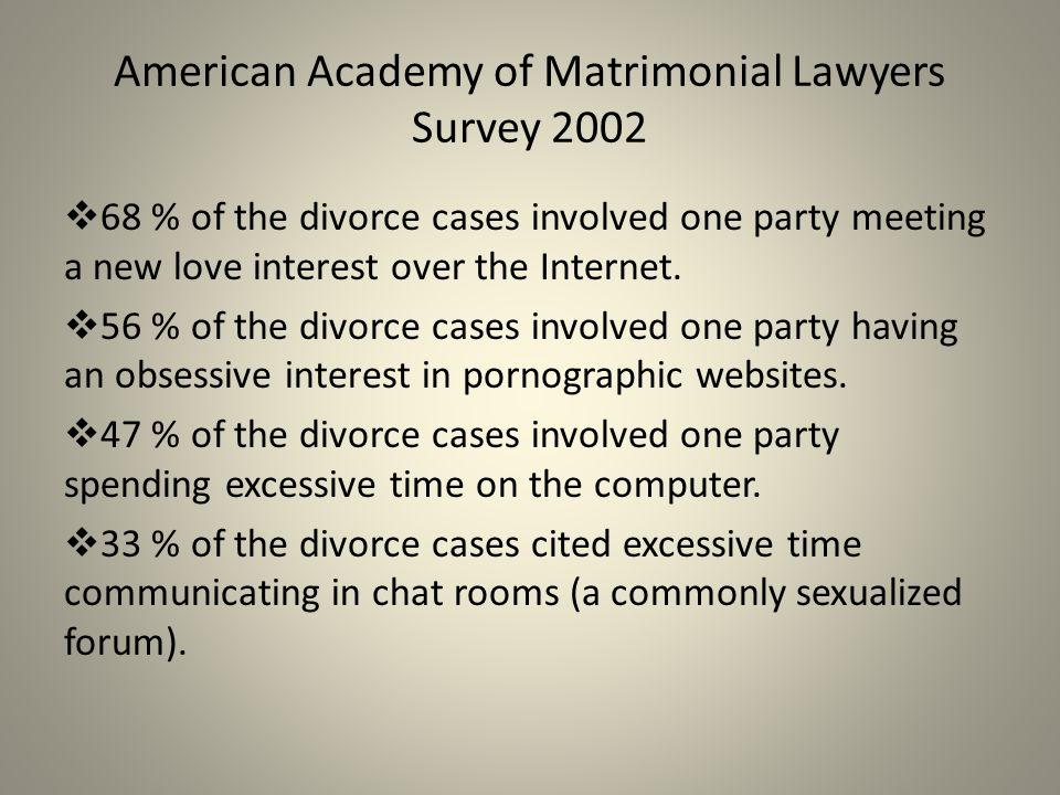 Impact on Relationships Married women are significantly more distressed by a partner's online pornography consumption than women in dating relationships.