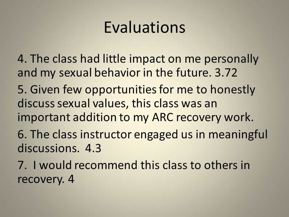 Evaluations (Ratings)1-strongly disagree to 5 strongly agree 1.The class helped me to better understand the impact of participation in commercial sex on my recovery.