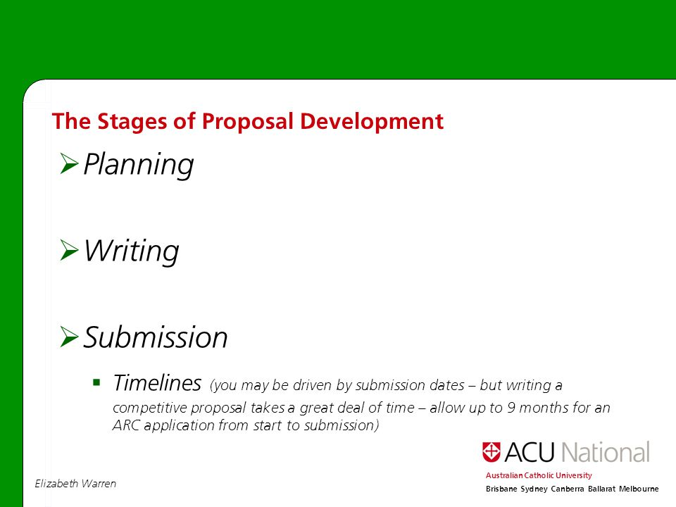 Elizabeth Warren Australian Catholic University Brisbane Sydney Canberra Ballarat Melbourne  Planning  Writing  Submission  Timelines (you may be driven by submission dates – but writing a competitive proposal takes a great deal of time – allow up to 9 months for an ARC application from start to submission) The Stages of Proposal Development