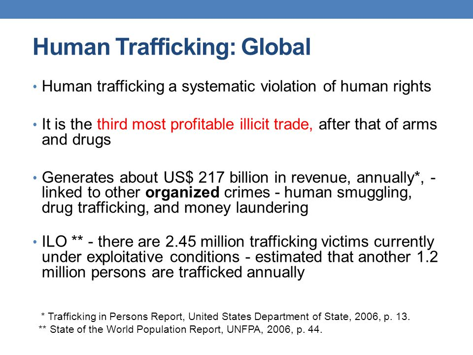 Human Trafficking: Global Human trafficking a systematic violation of human rights It is the third most profitable illicit trade, after that of arms a