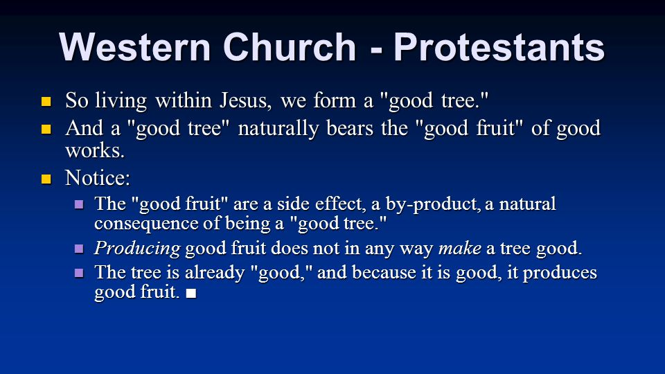 Western Church - Protestants So living within Jesus, we form a