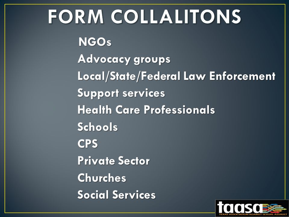 NGOs NGOs Advocacy groups Advocacy groups Local/State/Federal Law Enforcement Local/State/Federal Law Enforcement Support services Support services Health Care Professionals Health Care Professionals Schools Schools CPS CPS Private Sector Private Sector Churches Churches Social Services Social Services