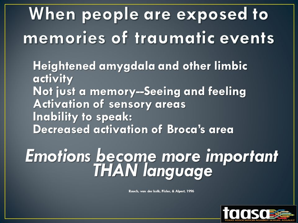 Heightened amygdala and other limbic activity Not just a memory--Seeing and feeling Activation of sensory areas Inability to speak: Decreased activation of Broca's area Emotions become more important THAN language Rauch, van der kolk, Fisler, & Alpert, 1996 Rauch, van der kolk, Fisler, & Alpert, 1996