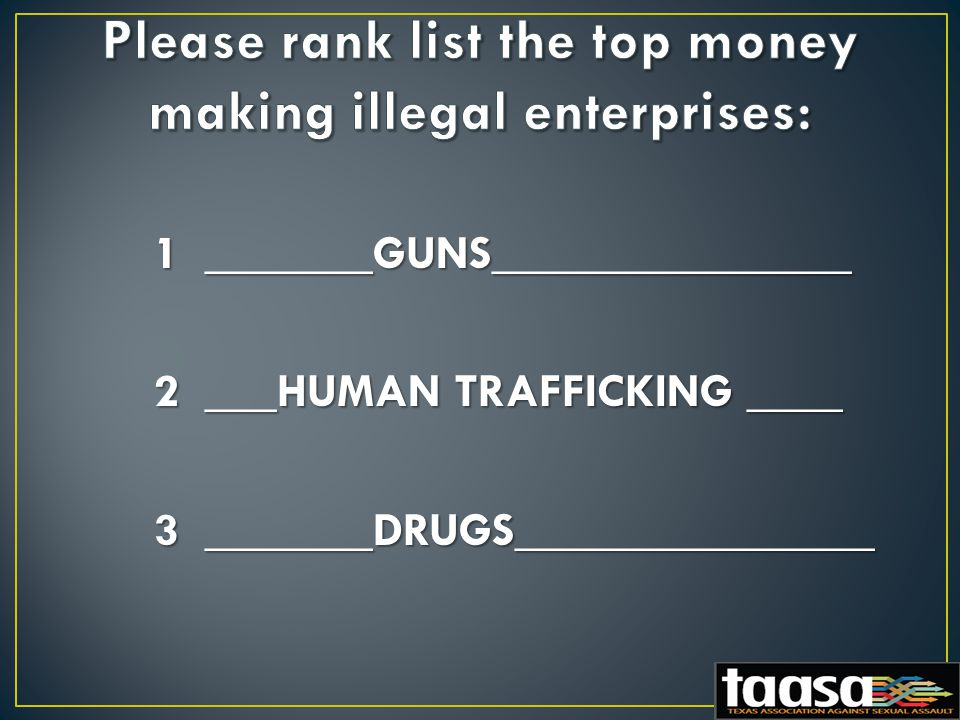 1 _______GUNS_______________ 2 ___HUMAN TRAFFICKING ____ 3 _______DRUGS_______________