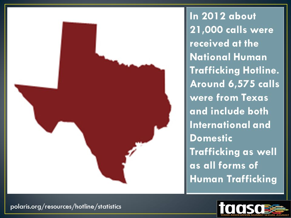 In 2012 about 21,000 calls were received at the National Human Trafficking Hotline.