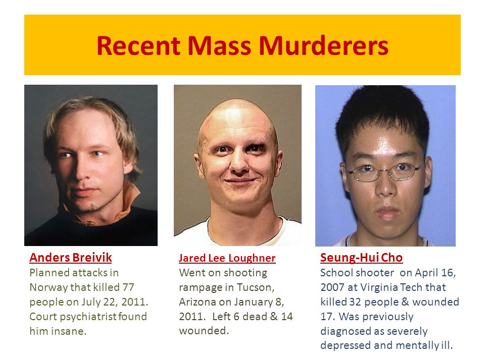 Recent Mass Murderers Anders Breivik Planned attacks in Norway that killed 77 people on July 22, 2011. Court psychiatrist found him insane. Jared Lee
