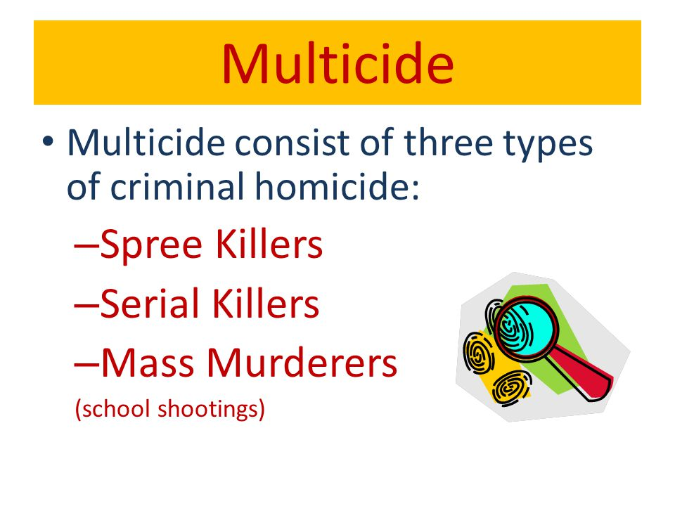 Spree Killers Definition-When someone murders at two or more separate locations, but with no emotional cooling off period between homicides.