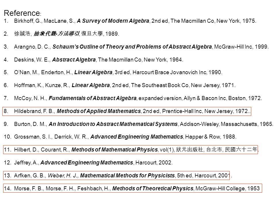Reference : 1. 1.Birkhoff, G., MacLane, S., A Survey of Modern Algebra, 2nd ed, The Macmillan Co, New York, 1975. 2. 2. 徐誠浩, 抽象代數 - 方法導引, 復旦大學, 1989.