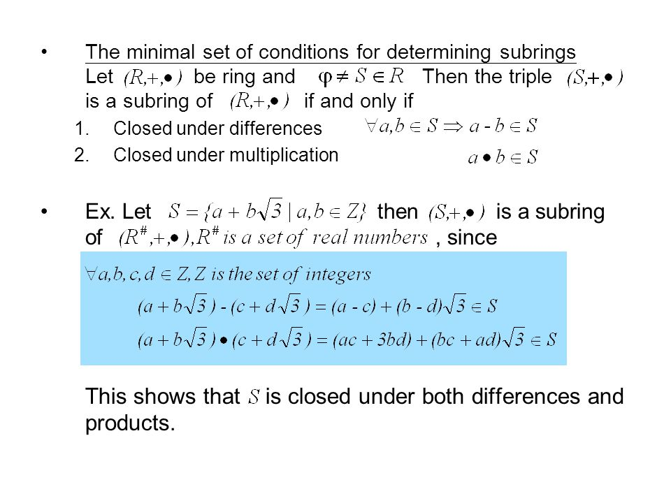 The minimal set of conditions for determining subrings Let be ring and Then the triple is a subring of if and only if 1.Closed under differences 2.Clo