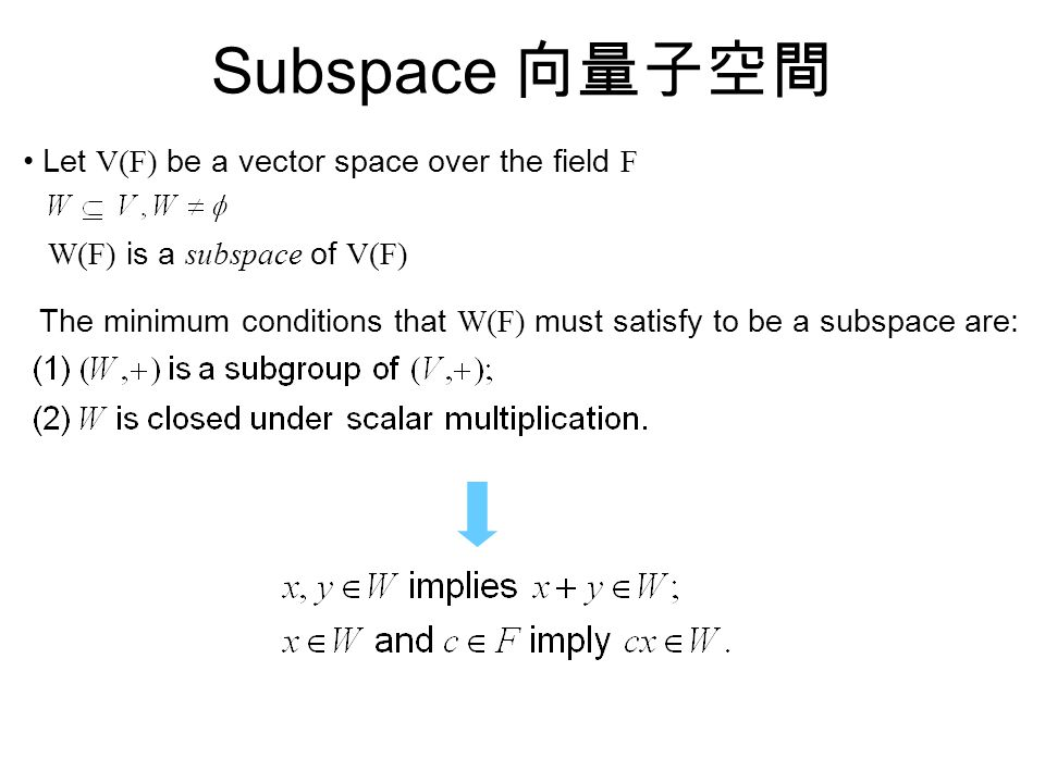Subspace 向量子空間 Let V(F) be a vector space over the field F W(F) is a subspace of V(F) The minimum conditions that W(F) must satisfy to be a subspace are: