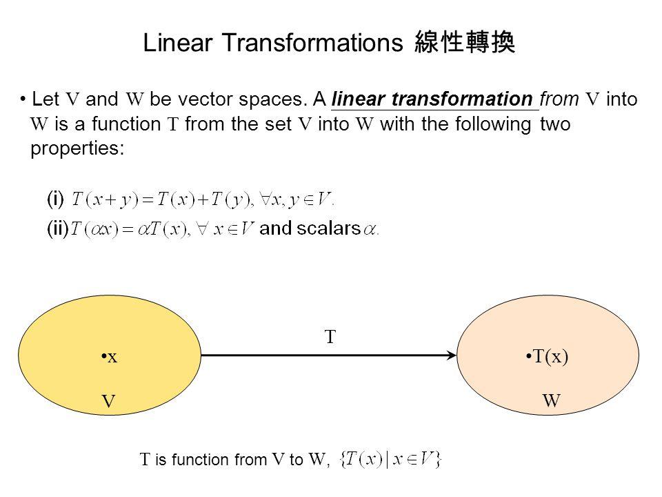 Linear Transformations 線性轉換 Let V and W be vector spaces. A linear transformation from V into W is a function T from the set V into W with the followi