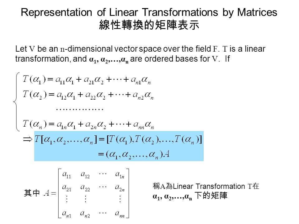Representation of Linear Transformations by Matrices 線性轉換的矩陣表示 Let V be an n -dimensional vector space over the field F. T is a linear transformation,