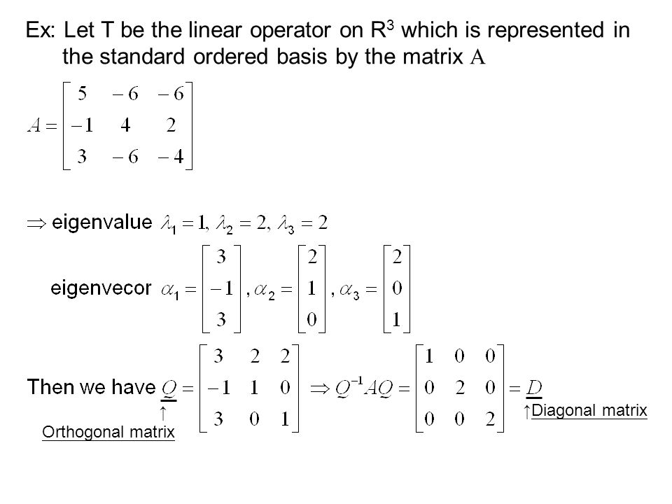 Ex: Let T be the linear operator on R 3 which is represented in the standard ordered basis by the matrix A ↑Diagonal matrix ↑ Orthogonal matrix
