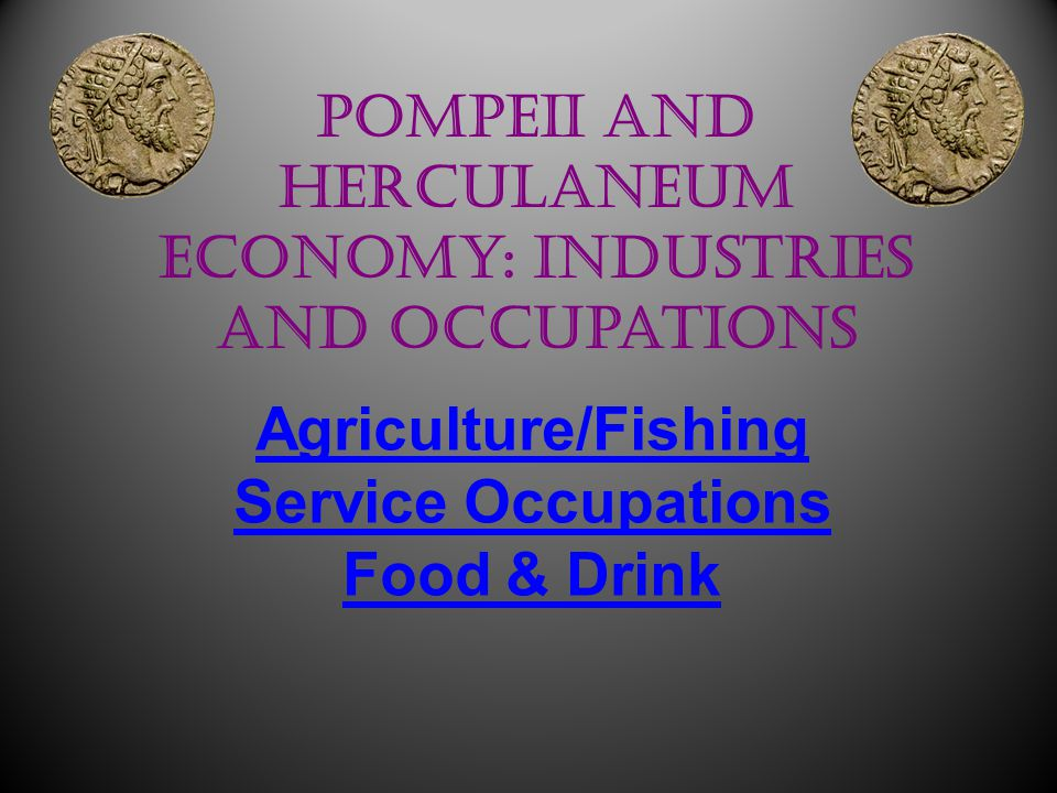 Pompeii and Herculaneum Economy: Industries and Occupations Agriculture/Fishing Service Occupations Food & Drink Claire Benn