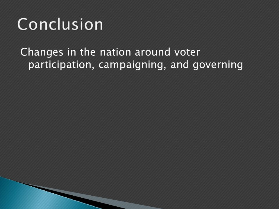Changes in the nation around voter participation, campaigning, and governing