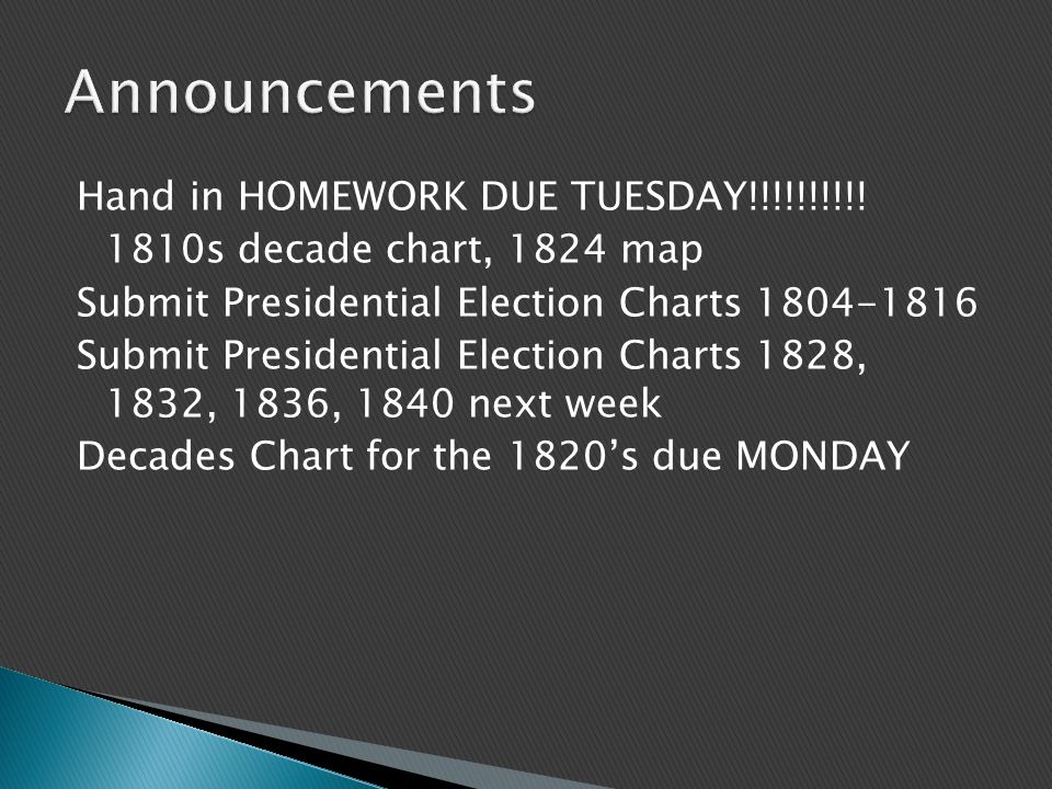 Hand in HOMEWORK DUE TUESDAY!!!!!!!!!.