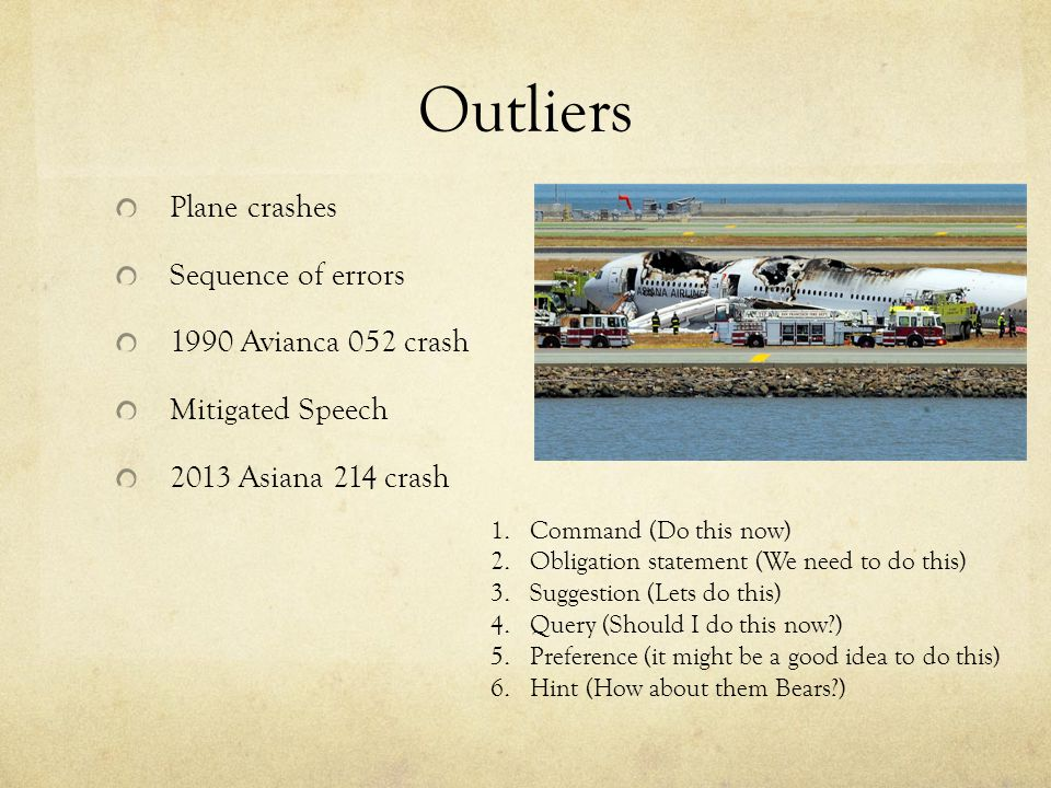 Outliers Plane crashes Sequence of errors 1990 Avianca 052 crash Mitigated Speech 2013 Asiana 214 crash 1.Command (Do this now) 2.Obligation statement (We need to do this) 3.Suggestion (Lets do this) 4.Query (Should I do this now ) 5.Preference (it might be a good idea to do this) 6.Hint (How about them Bears )