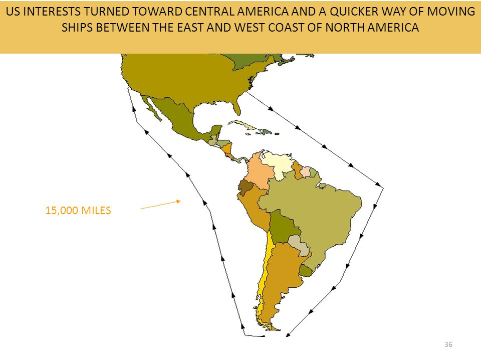 36 US INTERESTS TURNED TOWARD CENTRAL AMERICA AND A QUICKER WAY OF MOVING SHIPS BETWEEN THE EAST AND WEST COAST OF NORTH AMERICA 15,000 MILES