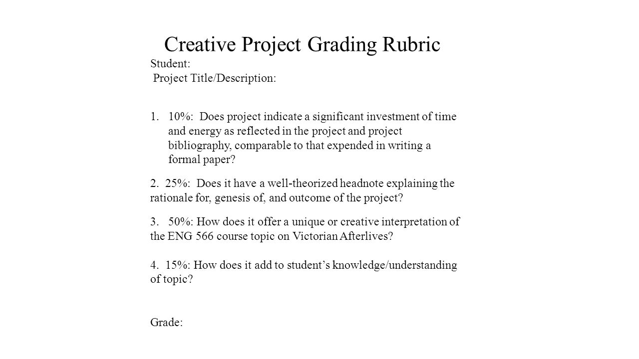 Creative Project Grading Rubric Student: Project Title/Description: 1.10%: Does project indicate a significant investment of time and energy as reflected in the project and project bibliography, comparable to that expended in writing a formal paper.