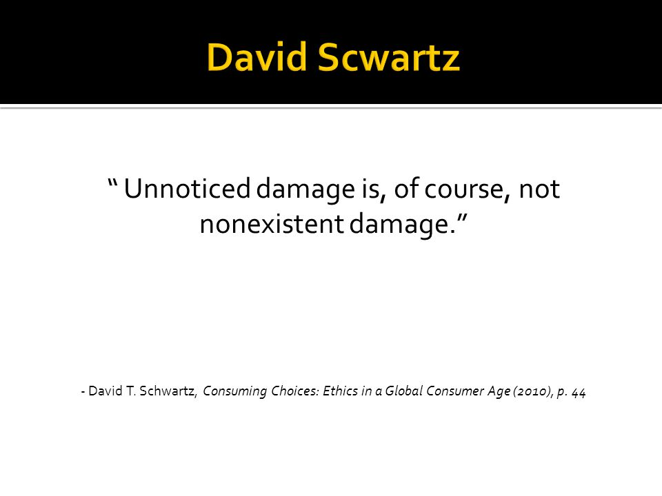 """"""" Unnoticed damage is, of course, not nonexistent damage."""" - David T. Schwartz, Consuming Choices: Ethics in a Global Consumer Age (2010), p. 44"""