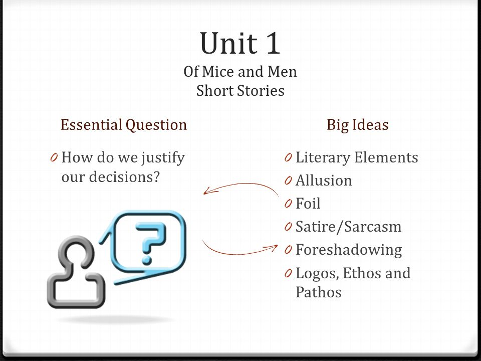 Unit 1 Of Mice and Men Short Stories Essential QuestionBig Ideas 0 How do we justify our decisions.