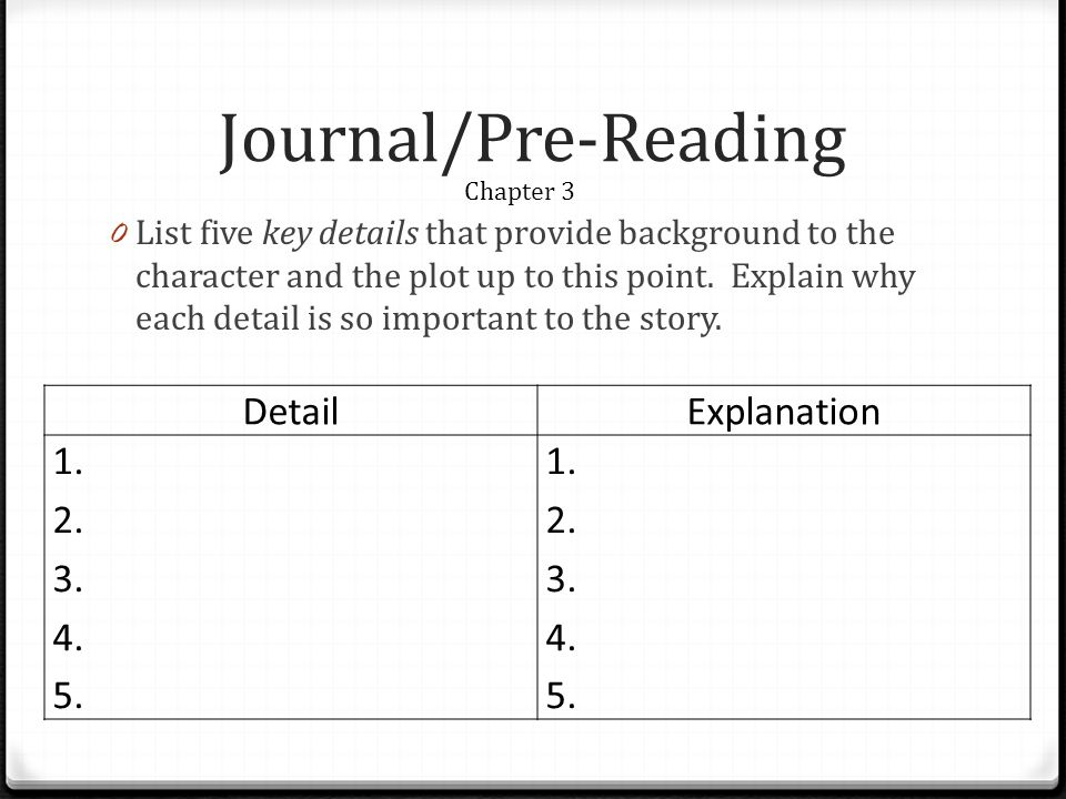 Journal/Pre-Reading 0 List five key details that provide background to the character and the plot up to this point.