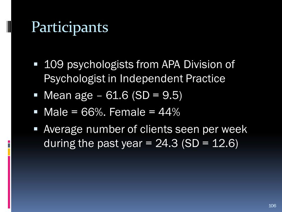 Participants  109 psychologists from APA Division of Psychologist in Independent Practice  Mean age – 61.6 (SD = 9.5)  Male = 66%. Female = 44%  A