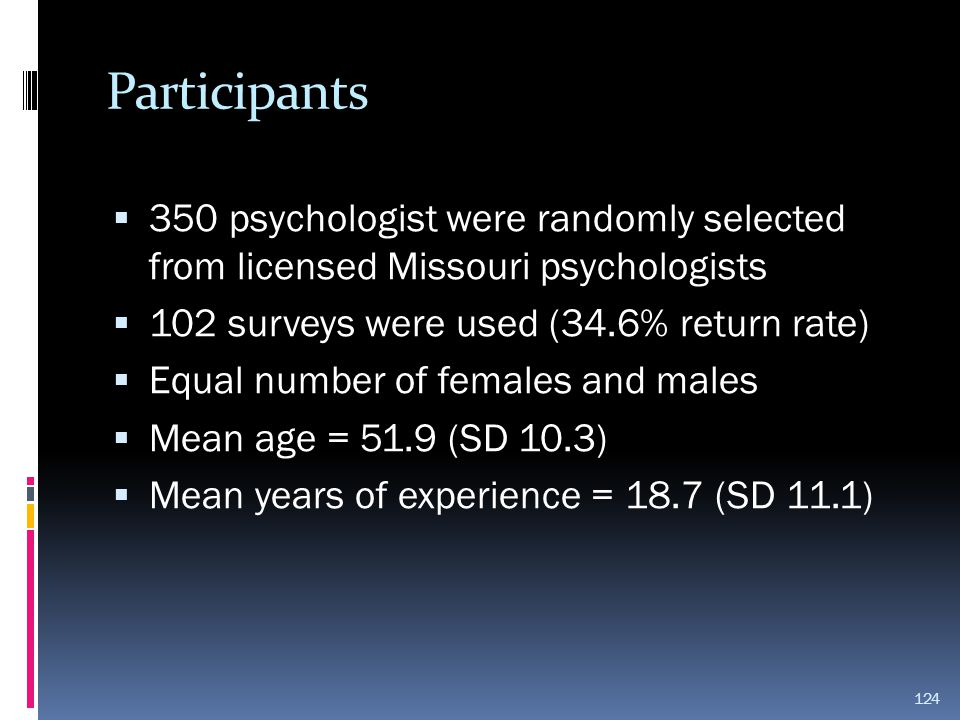 Participants  350 psychologist were randomly selected from licensed Missouri psychologists  102 surveys were used (34.6% return rate)  Equal number