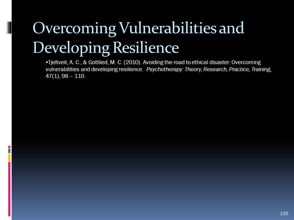 Overcoming Vulnerabilities and Developing Resilience  Tjeltveit, A. C., & Gottlied, M. C. (2010). Avoiding the road to ethical disaster: Overcoming v