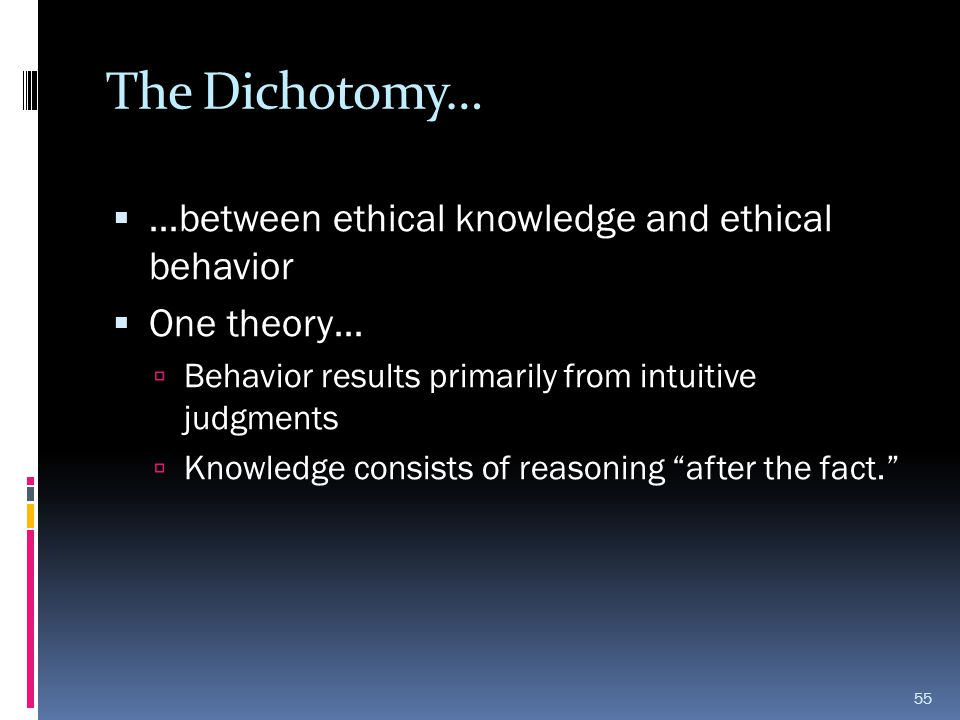 The Dichotomy…  …between ethical knowledge and ethical behavior  One theory…  Behavior results primarily from intuitive judgments  Knowledge consi