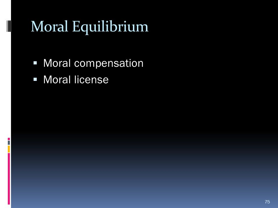 Moral Equilibrium  Moral compensation  Moral license 75